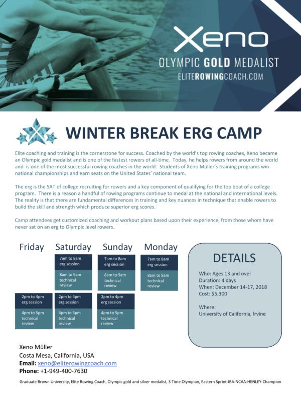 Winter Break Erg Camp - Private Elite Coaching, rowing, Xeno Müller, Elite Rowing Coach